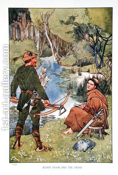 Robin Hood and the Friar, illustration from Heroic Legends by A G Herbertson, London 1911 by Helen Stratton - Reproduction Oil Painting