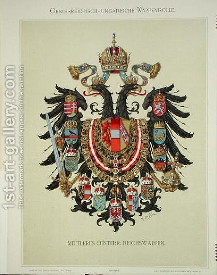 Plate with the coat of arms of the Austro-Hungarian Empire, from Heraldischer Atlas by the artist, 1899 by (after) Strohl, Hugo Gerard - Reproduction Oil Painting