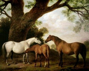 Romanticism painting reproductions: Two Shafto Mares and a Foal, 1774