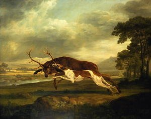 Romanticism painting reproductions: A Hound attacking a stag