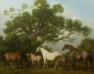 Famous paintings of Horses & Horse Riding: Mares and Foals under an Oak Tree, 1773