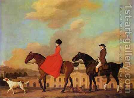 John and Sophia Musters riding at Colwick Hall, 1777 by George Stubbs - Reproduction Oil Painting