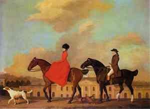 Famous paintings of Horses & Horse Riding: John and Sophia Musters riding at Colwick Hall, 1777