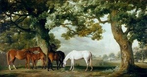 Famous paintings of Domestic Animals: Mares and Foals Beneath Large Oak Trees, c.1764-68