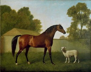 Romanticism painting reproductions: Dungannon, the property of Colonel OKelly, painted in a paddock with a sheep, 1793
