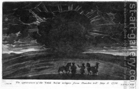 The Appearance of the Total Solar Eclipse from Haradon Hill, 11th May 1724, engraved by E. Kirkhall by (after) Stukeley, William - Reproduction Oil Painting