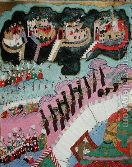 Siege of a Christian Fortress, detail of the artillery, illustration from The Military Campaigns of Suleyman I 1494-1566 the Magnificent by I the Magnificent Suleyman - Reproduction Oil Painting