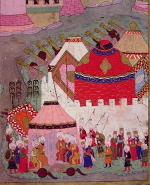 Famous paintings of Tent: TSM H.1524 Siege of Vienna by Suleyman I 1494-1566 the Magnificent, in 1529, from the Hunername by Lokman, detail of the Ottoman camp, 1588