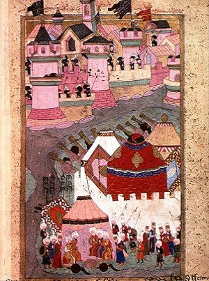 Famous paintings of Tent: TSM H.1524 Siege of Vienna by Suleyman I 1494-1566 the Magnificent, in 1529, from the Hunername by Lokman, 1588