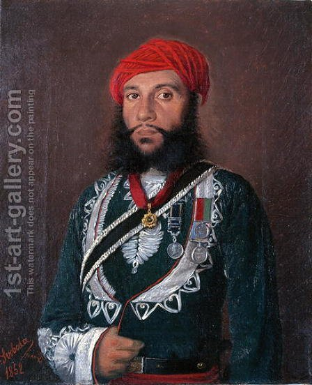 An Indian Officer of the 2nd Regiment Irregular Cavalry, 1852 by Alexander Sandor Svoboda - Reproduction Oil Painting