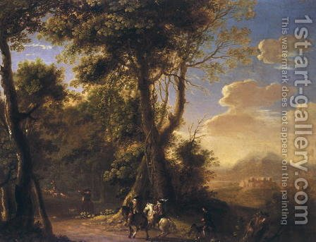 Landscape with cavaliers by Herman Van Swanevelt - Reproduction Oil Painting