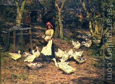 Harold Swanwick: Feeding the Ducks - reproduction oil painting