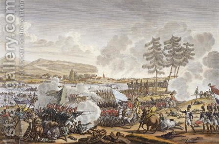The Battle of Friedland, 14 June 1807, engraved by Francois Pigeot b.1775 by (after) Swebach, Jacques Francois Joseph - Reproduction Oil Painting