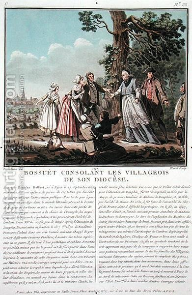 Jacques Benigne Bossuet 1627-1704 consoles the villagers of his diocese, engraved by Jean Baptiste Morret fl.1790-1820, 1790 by (after) Swebach, Jacques Francois Joseph - Reproduction Oil Painting