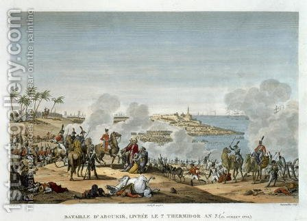 The Battle of Aboukir, 7 Thermidor, Year 7 25 July 1799 engraved by Louis Francois Couche 1782-1849 by (after) Swebach, Jacques Francois Joseph - Reproduction Oil Painting