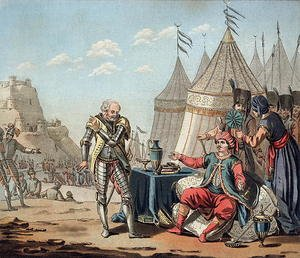 Famous paintings of Tent: Philippe Villiers de LIsle-Adam 1464-1534 refuses the propositions of Sulayman I 1494-1566, 1522, engraved by Jean Baptiste Morret fl.1790-1820, 1792