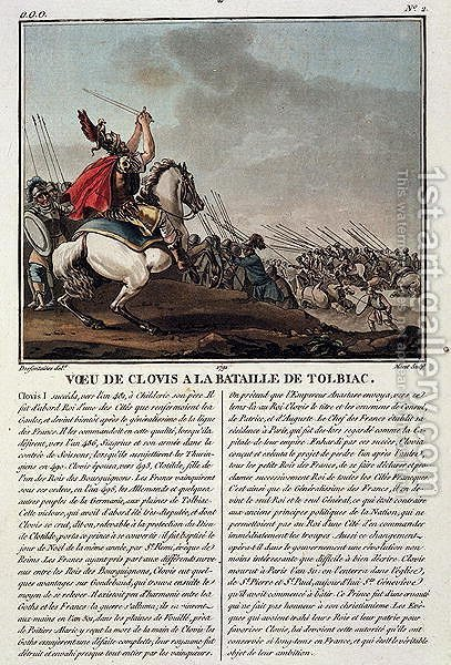 Clovis I c.466-511 at the Battle of Tolbiac, 496 AD, engraved by Jean Baptiste Morret fl.1790-1820, 1791 by (after) Swebach, Jacques Francois Joseph - Reproduction Oil Painting