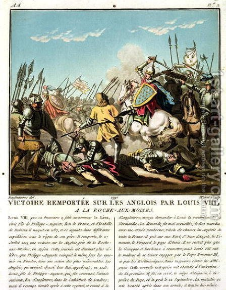 Victory Gained Over the English by Louis VIII 1187-1226 at La Roche aux-Moines, engraved by Jean Baptiste Morret fl. 1790-1820, 1790 by (after) Swebach, Jacques Francois Joseph - Reproduction Oil Painting