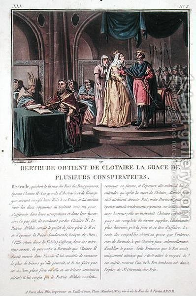 Clothaire II, King of the Franks 584-628 is beseeched by his wife Bertrude d.620 to spare the lives of several conspirators, engraved by Jean Baptiste Morret fl.1790-1820, 179 by (after) Swebach, Jacques Francois Joseph - Reproduction Oil Painting