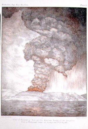 Famous paintings of Volcanoes: Krakatoa during the earlier stage of the eruption, after a photograph taken in 1883, plate 1 from The Eruption of Krakatoa, 1888