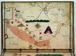 Famous paintings of Tent: Ms Ital 550.0.3.15 fol.5v Map of the Red Sea, from the Carte Geografiche