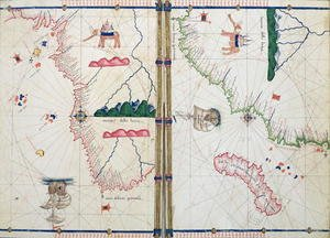 Ms Ital 550.0.3.15 fol.4v-5r Map of Africa and the Cape of Good Hope, from the Carte Geografiche