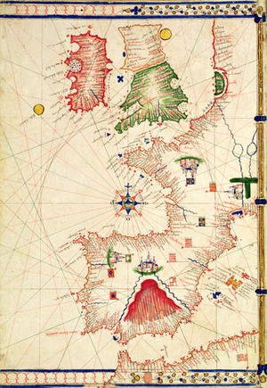 Ms Ital 550.0.3.15 fol.2r Map of Europe, from Carte Geografiche