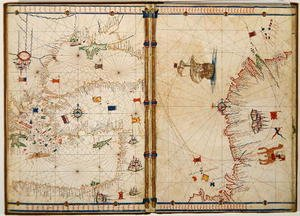 Ms Ital 550.0.3.15 fol.4v-5r Map of the Eastern Mediterranean Coast and Islands, from the Carte Geografiche