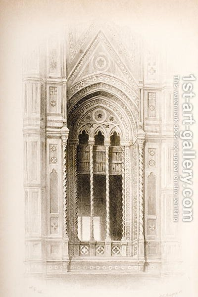 Tracery from the Campanile of Giotto, Florence, from The Seven Lamps of Architecture by John Ruskin, engraved by James Charles Armytage c.1820-97 published 1894 by (after) Ruskin, John - Reproduction Oil Painting