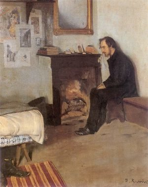 Reproduction oil paintings - Santiago Rusinol i Prats - The Bohemian portrait of Erik Satie in his studio in Montmartre, 1891