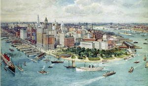Famous paintings of Nautical: A Birds Eye View of Lower Manhattan, 1911