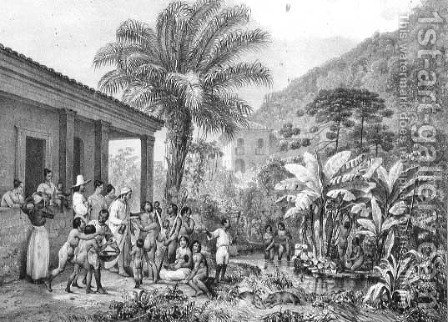 Indians on a Plantation, engraved by Victor Adam 1801-66 c.1835 by (after) Rugendas, Johann Moritz - Reproduction Oil Painting