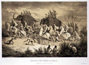 Famous paintings of Animals: Cavalcade of Sikh Chieftains on Elephants, from Voyage in India, engraved by Louis Henri de Rudder 1807-81 pub. in London, 1858