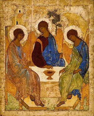 Medieval & Gothic Art painting reproductions: The Holy Trinity, 1420s