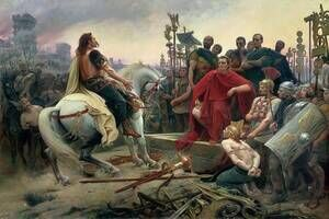 Famous paintings of Horses & Horse Riding: Vercingetorix throws down his arms at the feet of Julius Caesar, 1899