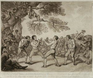 Famous paintings of Boxing: The Boxing Match between Daniel Mendoza and Richard Humphreys at Stilton, Huntingdonshire, 6th May 1789, engraved by Joseph Grozer c.1755-99
