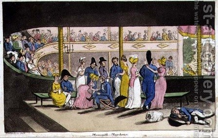 Plymouth Playhouse, plate from The Adventures of Johnny Newcome in the Navy by John Mitford 1782-1831 engraved by W. Read, 181 by (after) Rowlandson, Thomas - Reproduction Oil Painting