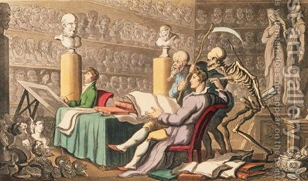 Time and Death their Thoughts Impart-On Works of Learning and of Art, from the English Dance of Death pub. by Rudolph Ackermann 1764-1834 1814 by (after) Rowlandson, Thomas - Reproduction Oil Painting