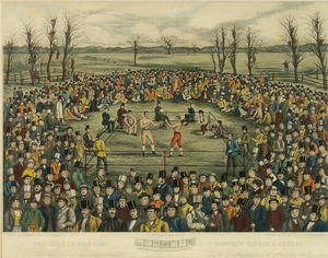 Famous paintings of Boxing: The Great Contest between Sayers and Heenan for 200 Pounds a side, engraved by J. R. Mackrell and J.B. Rowbotham