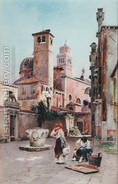 A Piazza in Venice, 1901 by Alexandre Nicolaievitch Roussoff - Reproduction Oil Painting