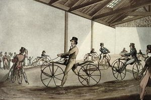 Famous paintings of Bicycling: The Pedestrian Curricle patented by Dennis Johnson, c.1819