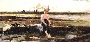 Reproduction oil paintings - Alexander M. Rossi - Young Girl Paddling