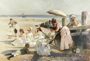 On the Shores of Bognor Regis - Portrait Group of the Harford Couple and their Children, 1887