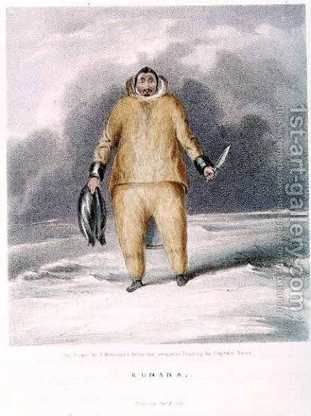 Kunana, an eskimo, engraved by John Brandard 1812-63, printed by Graf and Sorel by (after) Ross, Sir John - Reproduction Oil Painting