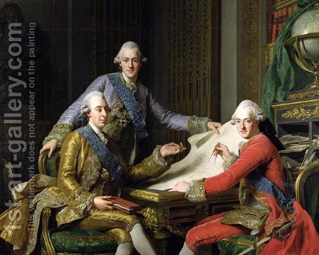 King Gustav III of Sweden 1746-92 and his Brothers, 1771 by Alexander Roslin - Reproduction Oil Painting