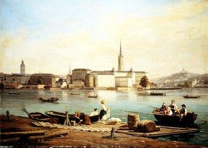 Martinus Rorbye reproductions - A view of Riddarholmen on Lake Malaven with the Ridarhuset and the Riddarholms church beyond, Stockholm