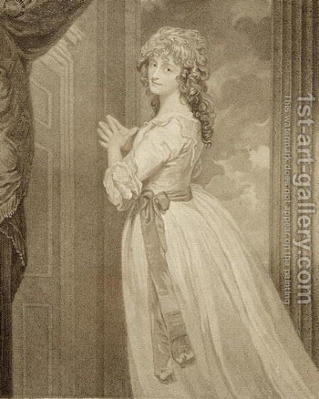 Mrs Jordan in the Character of the Country Girl, engraved by Francesco Bartolozzi 1727-1815 by (after) Romney, George - Reproduction Oil Painting