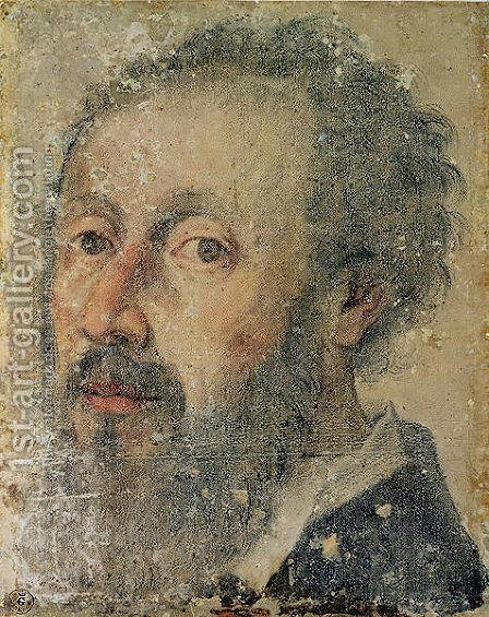 Self Portrait by Giulio Romano (Orbetto) - Reproduction Oil Painting