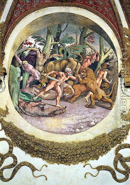 Scene showing that those born under the sign of Leo in conjunction with the constellation of the Dog Star will face wild animals without fear, symbolised by the scene of a struggle between men and beasts, from the Camera dei Venti, 1528 by Giulio Romano (Orbetto) - Reproduction Oil Painting