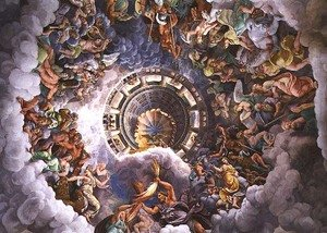 Mannerism painting reproductions: The Gods of Olympus, trompe loeil ceiling from the Sala dei Giganti, 1528
